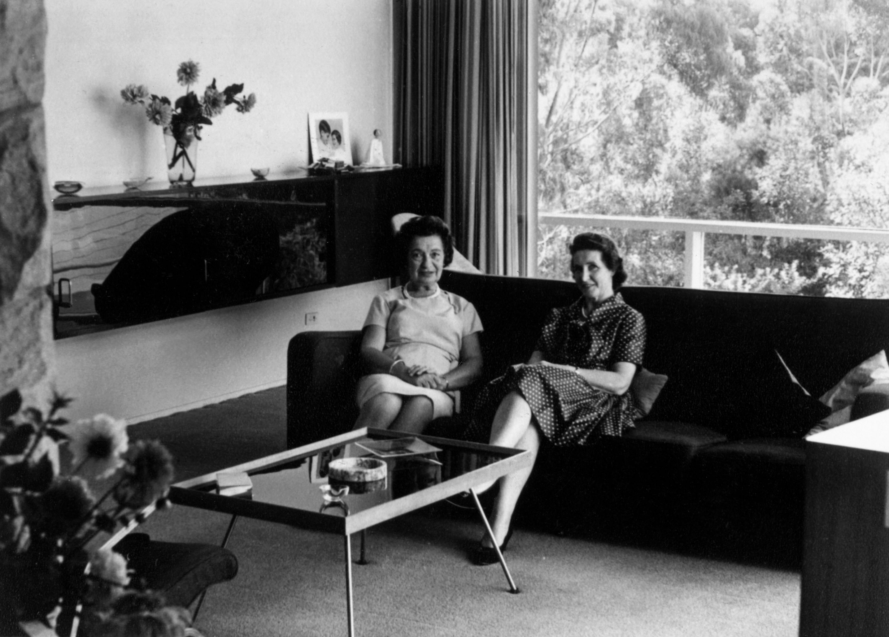 Rose Seidler (left) and Bea Evans seated in the living room, Rose Seidler House